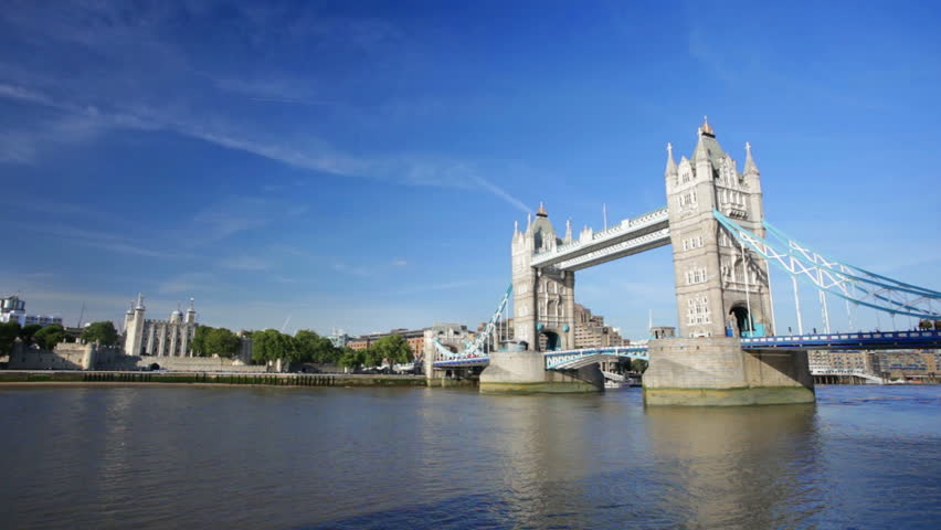 The Tower Bridge in London with blue sky.