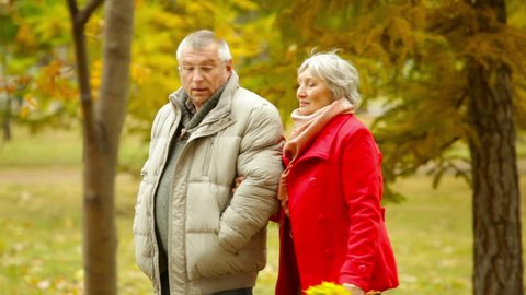 Retired husband and wife walking and talking in the open air