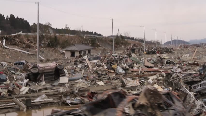 Terrible view of wreckage and debris after tsunami in Japan