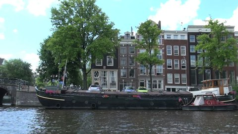 Amsterdam canal boat view