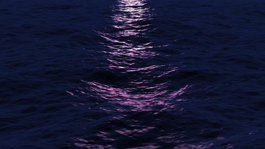 Seamless Loop Of Waves Reflecting In Moonlight On Ocean: Stock Video