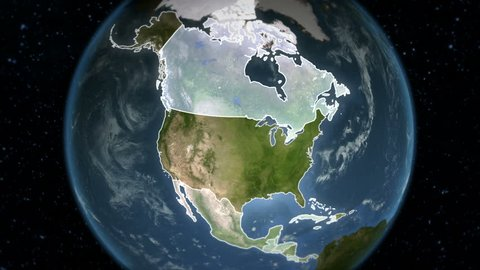 Spinning Earth with North and Central America country maps. Loopable. Each country border freeze a few seconds to let you edit and change the order or duration.