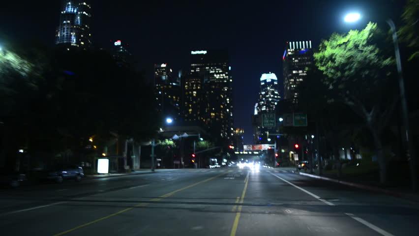 Driving POV LA Downtown 09 Night USA | Shutterstock HD Video #4993739