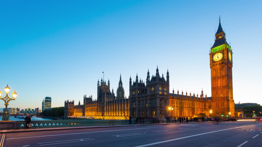 Time lapse footage of rush hour traffic on Westminster Bridge in London with Houses of Parliament and Big Ben in the background, London, England, United Kingdom | Shutterstock HD Video #4997204