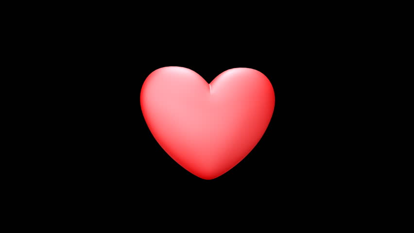 Glossy Red Heart On Black Background. Animation Card For ...