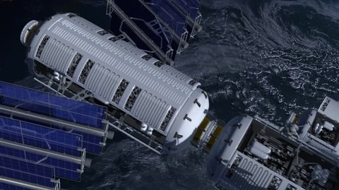 Spacestation flying over Earth with solar panels, modular architecture and astronauts operating in zero gravity