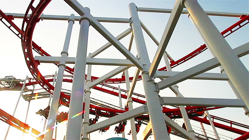 Amusement Park with rollercoaster