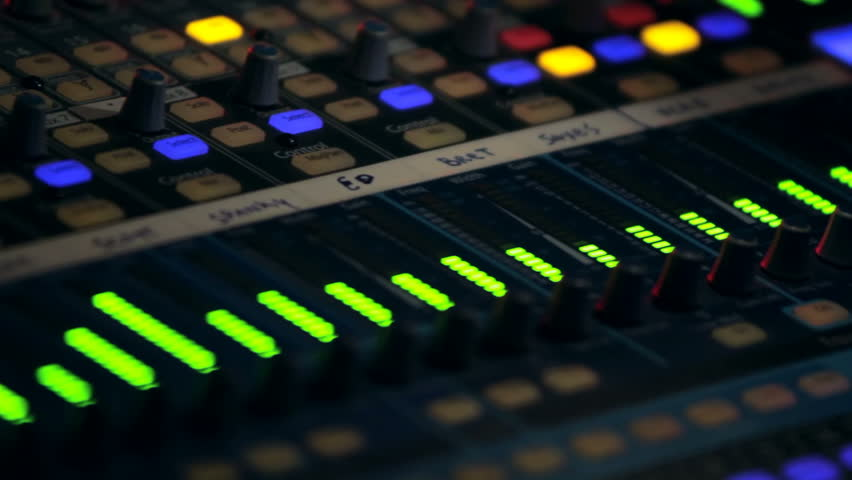 Close up of an audio board.