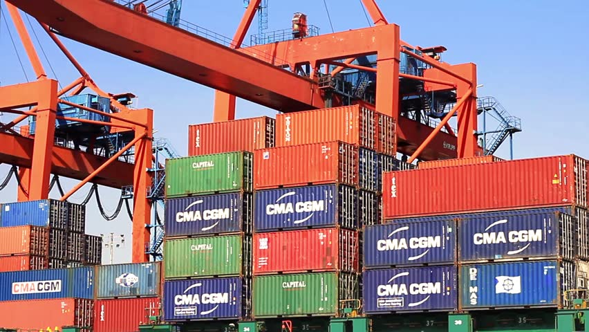 ISTANBUL - SEP 26: CMA CGMs containers on the deck of cargo ship on September