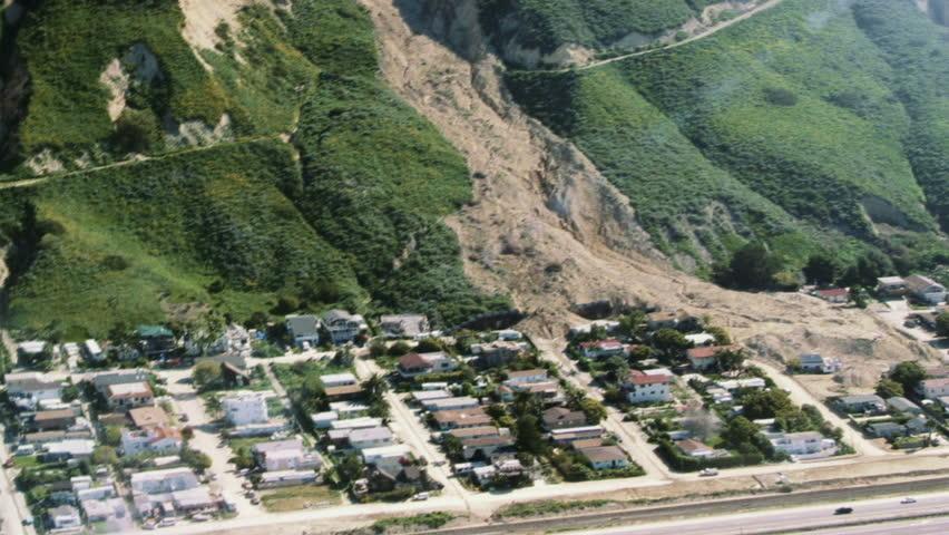 Aerial view of landslide destruction.