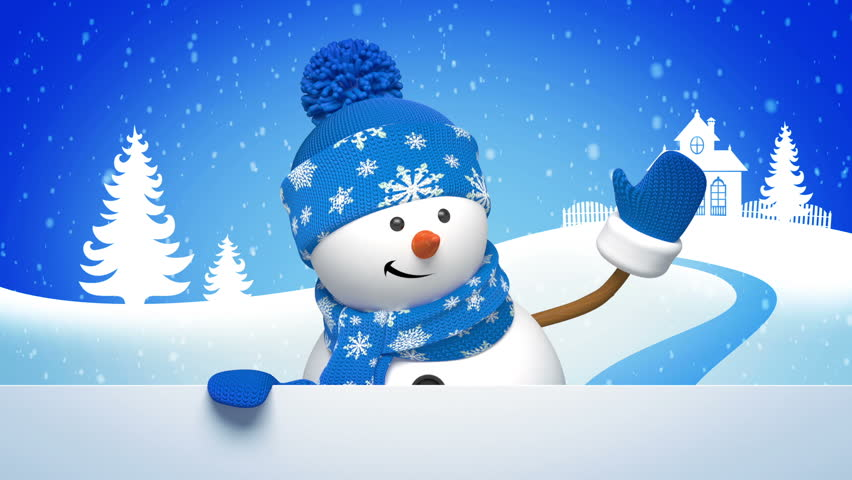 Christmas snowman salutation, animated greeting card, 3d cartoon character