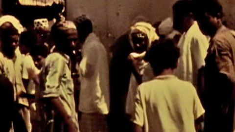 ADEN PROTECTORATE, CIRCA 1960: Public market vintage film HD. One of a kind private owned vintage and historic 8mm film. Today the territory forms part of the Republic of Yemen.
