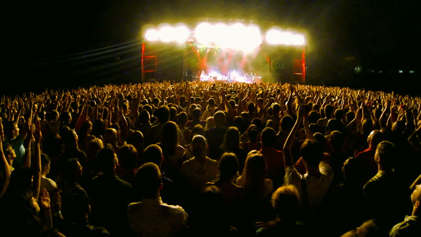 Crowd at a rock concert, back light silhouette  | Shutterstock HD Video #5073602