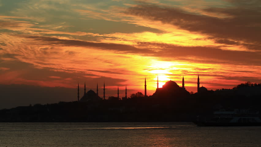 4K Time Lapse of Istanbul. Sarayburnu view at sunset in Turkey. High quality