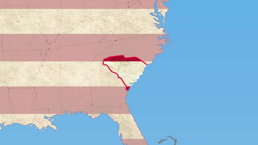 South Carolina Map Stock Footage Video Shutterstock - No carolina map