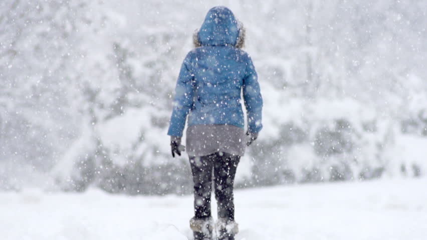 Slow Motion Rear View Of A Young Woman Walking Alone Through Snow Blizzard In