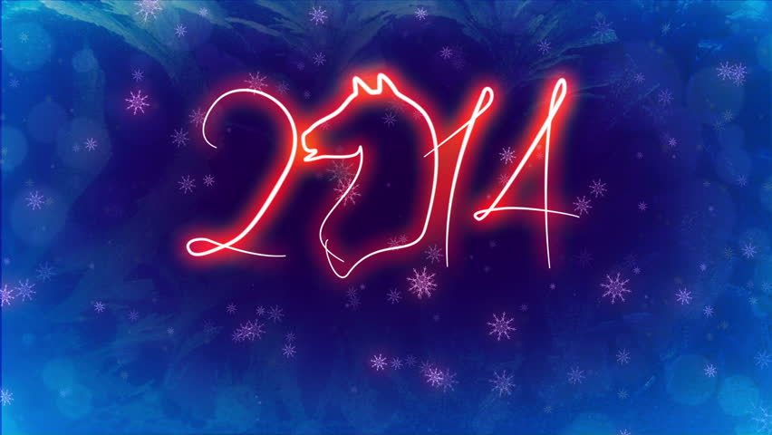 Two animated movie character with the advent of the horse in 2014. 1.Happy New Year. 2. Merry Cristmas.