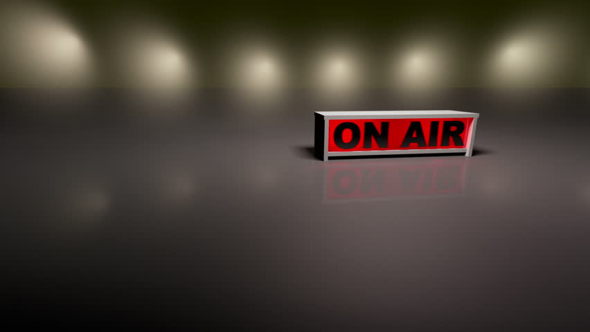 On Air Sign With A Radio Tv Announcer In The Background