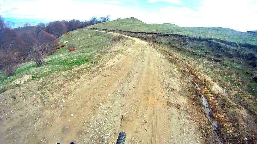 Downhill Mountain Bike Sport race, Top View