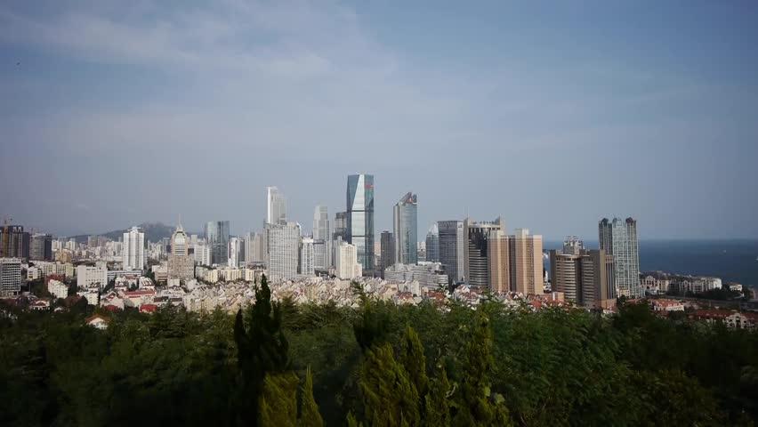 Overlooking urban & sea skyline,china QingDao(tsingtao). gh2_06654   Shutterstock HD Video #5152862