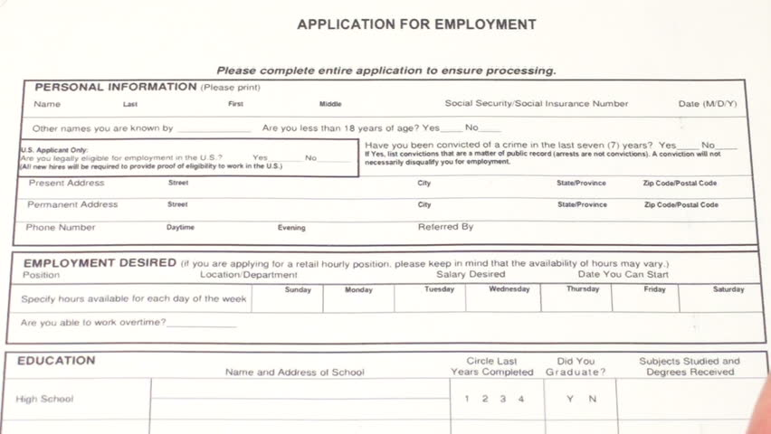 Job Application Form Fast Motion Footage Video 516346 – Postal Job Application