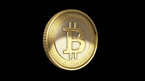 Golden spinning loopable Bitcoin animation - cryptography digital currency coin