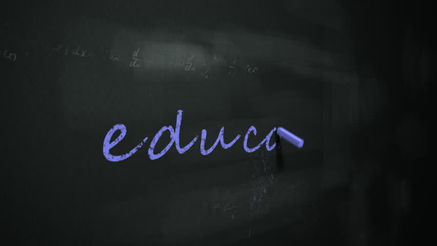 Animation of drawing word 'education' on chalkboard.