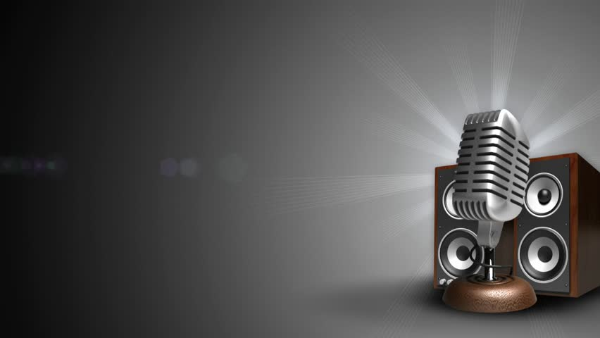 background with microphone and speakers, loop