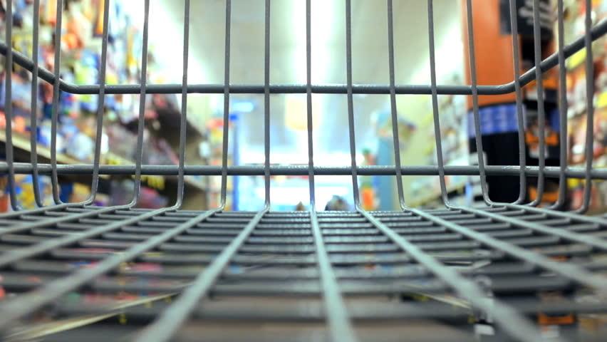 Shopping cart basket moving through market aisles hidef hd timelapse | Shutterstock HD Video #5175239