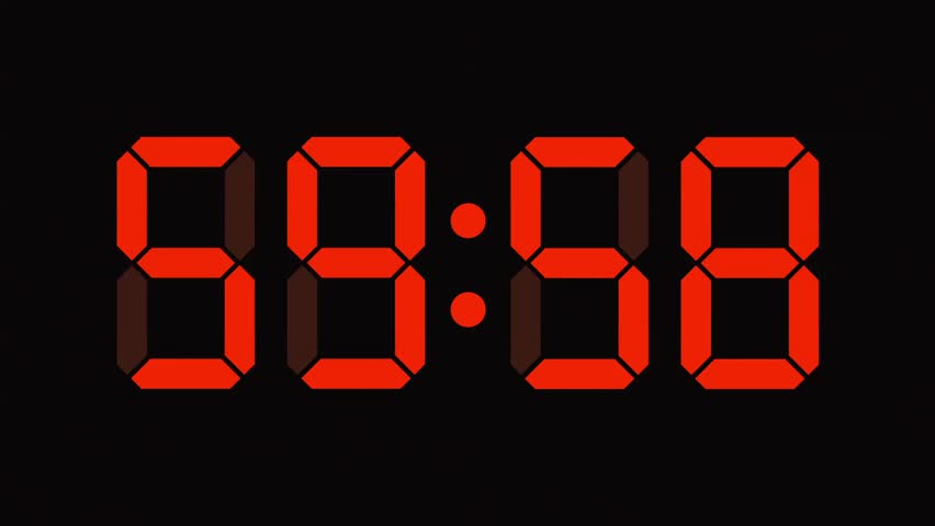 Digital clock countdown from sixty to zero - full HD - LCD display - orange numbers