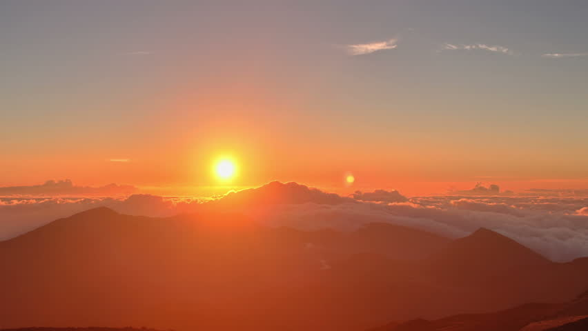 Brilliant summit dawn above flowing cloud waves, red sun disk time lapse in HDR  | Shutterstock HD Video #5209955