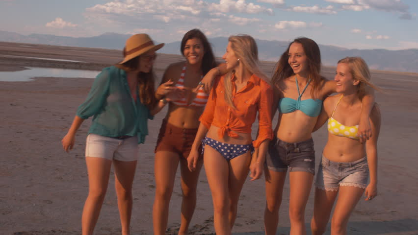 Five Attractive, Playful Teenage Girls Stock Footage Video -4009