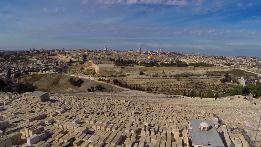 East Jerusalem flight over mount of olives cemetary  Beautiful video flying over west Jerusalem and the old city