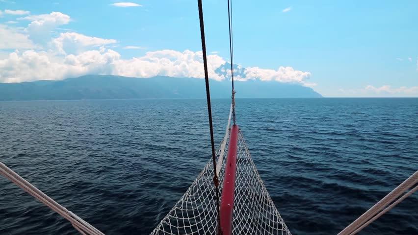 Ship sails to Mount Athos, autonomous monastic state of the holy mountain, Chalkidiki, Greece