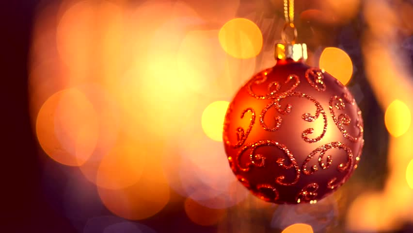 christmas and new year decoration hanging bauble close up abstract blurred bokeh holiday background blinking garland christmas tree lights twinkling - Christmas Tree Light
