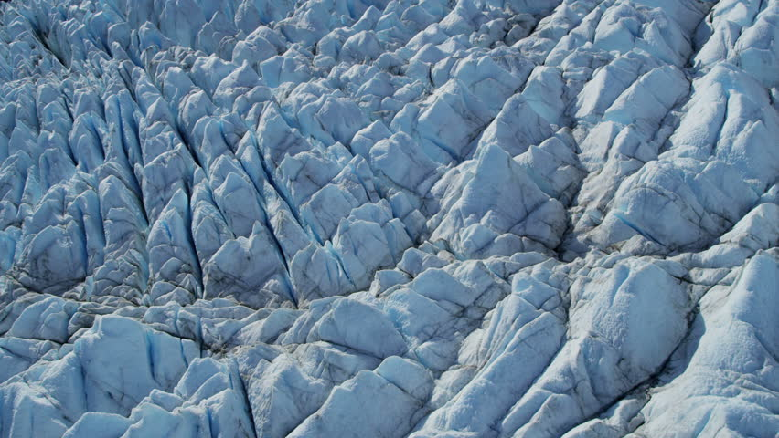 Aerial View Of Moraine Affected Ice Glacier Constantly Moving USA - Usa northern hemisphere