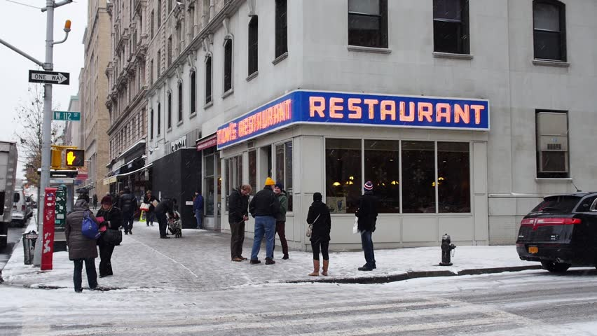NEW YORK CITY - Circa, December 15, 2013 - An establishing shot of Tom's Restaurant, a location made famous in the American sitcom, Seinfeld.