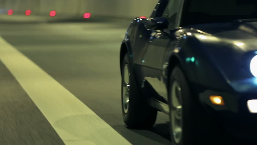 Side shot of Corvette at the night drive