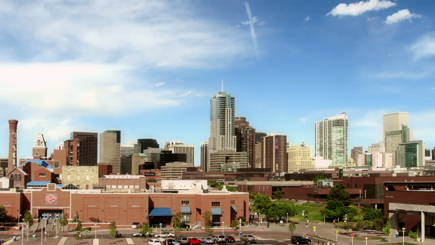 Wide shot of the downtown Denver Colorado skyline, with Auraria Campus in
