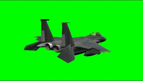 flying Jet-F15 Airplane green screen video Clip Footage