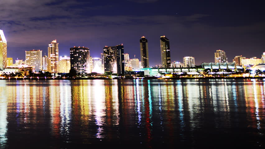 Time Lapse Of San Diego Skyline At Night Pan Left