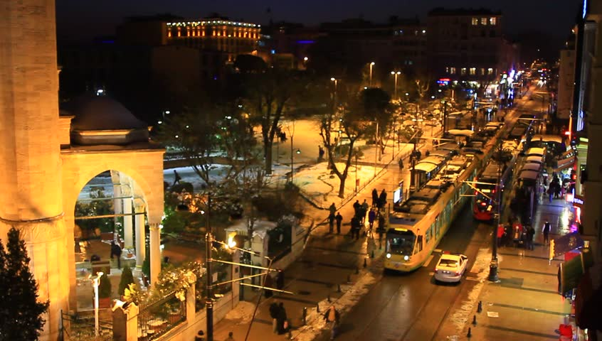 A busy winter night at Divanyolu Street in Istanbul, Turkey. Sultanahmet in