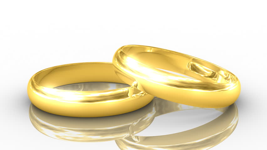 Two Golden Rings White Background HD High Definition 1080p