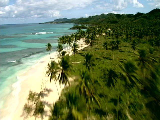 Aerial video of Caribbean coastline and vacation community in the Dominican Republic