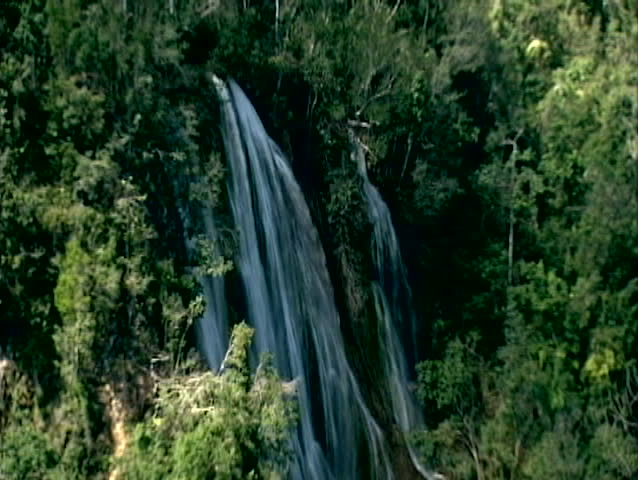 Aerial of waterfall in the jungles of the Caribbean islands