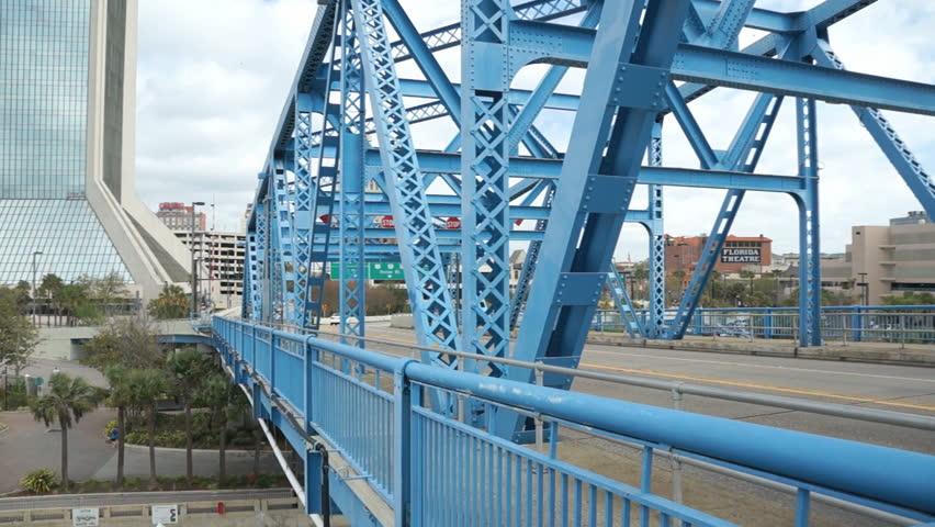 Traffic on the main street bridge in downtown Jacksonville florida   Shutterstock HD Video #5390069
