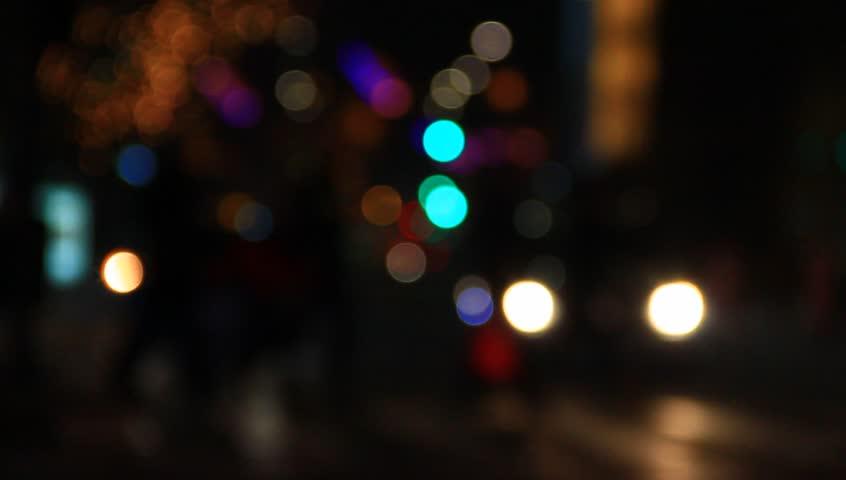Blurred lights of nigh traffic.