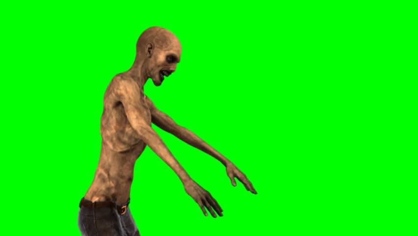 walking dead zombie walk - seperated on green screen