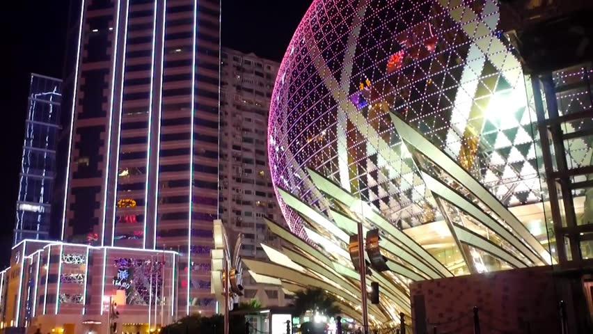 Tilt down shot Macau at night.