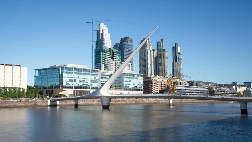 Argentina Buenos Aires Puerto Madero with bridge Time Lapse
